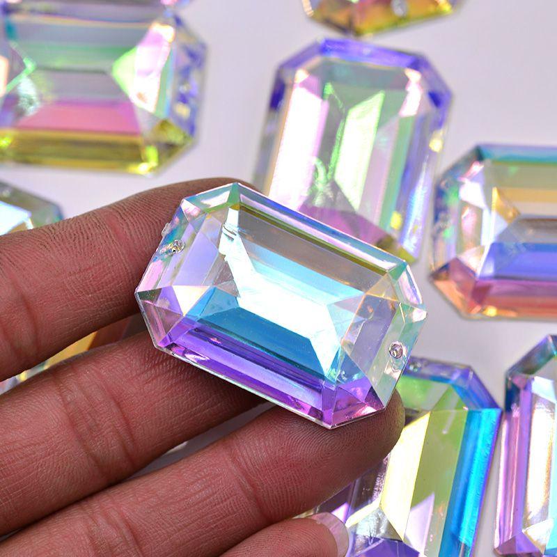 AB Crystals Flatback Rhinestones Sew On Acrylic Stones Rectangular For Clothes