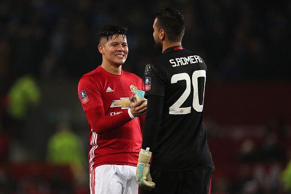 Sergio Romero Of Manchester United Celebrates With Marcos