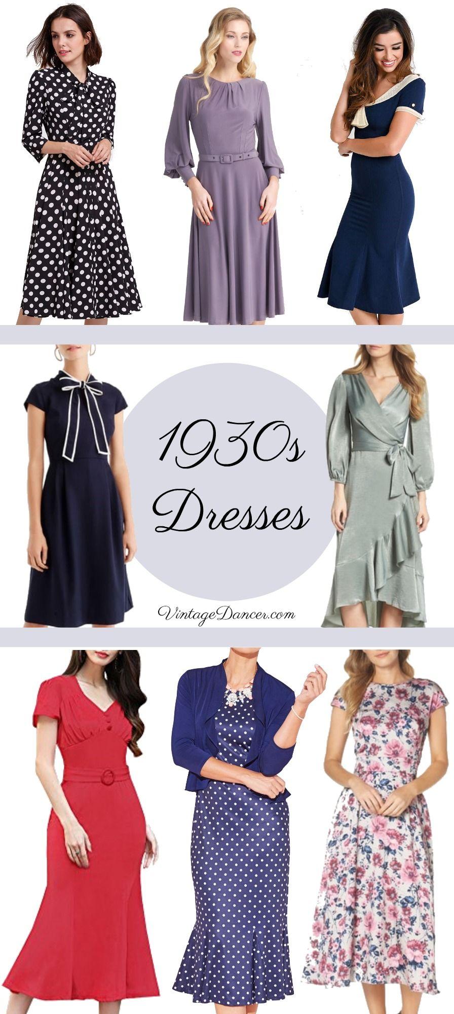 1930s Dresses Style 30s Thirties Day Vintage Tea Midi Vintagedancer