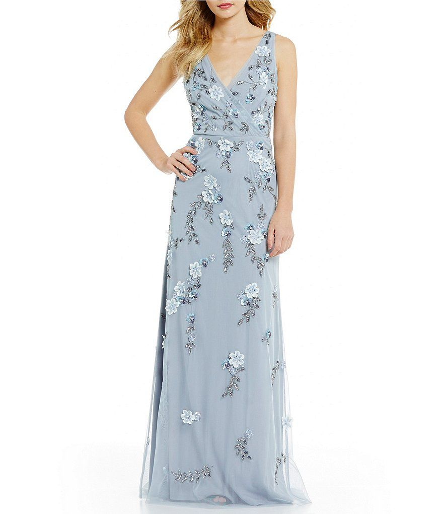 Adrianna Papell Plunging V-Neck Floral Beaded Gown | Wedding - MOB ...