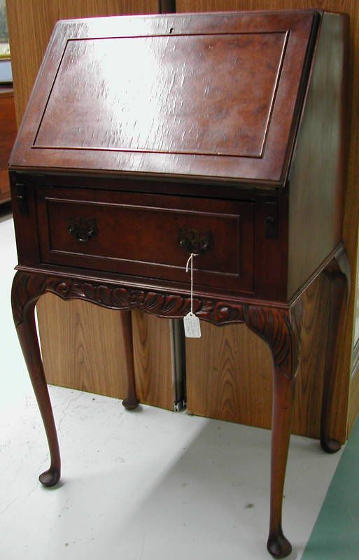 Antique writing desk. - Mahogany Ladies Desk, Drop Front For The Home Desk, Writing Desk