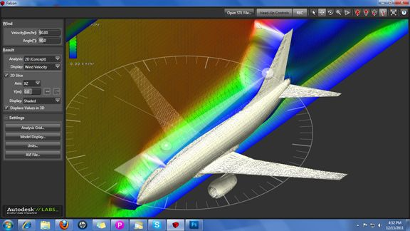 Running wind tunnel simulation in Autodesk Project Falcon to
