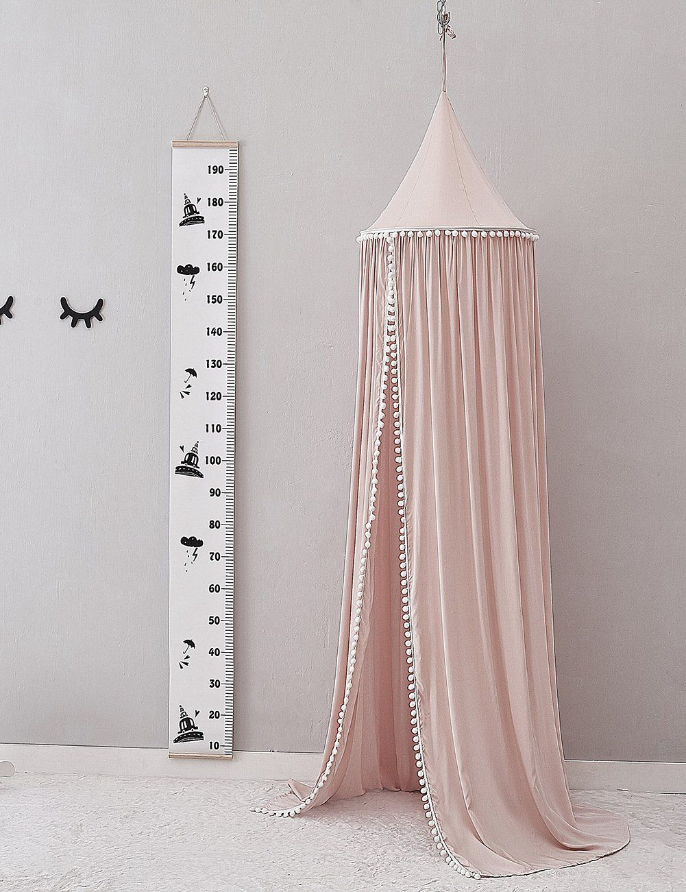 bed canopy with pom pom tent nursery 3 colors bed canopy kids rh pinterest com