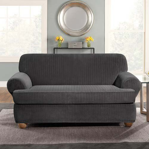 Fresh Sure Fit Sure Fit Stretch Pinstripe T Cushion Two Piece Sofa Slipcover Black Elegant - Review sure fit sofa cover