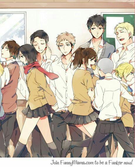 Shingeki No Highschool...Jean Checking Out Mikasa,typical