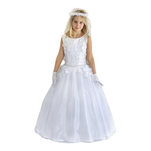 895705ece2b Blossom Little Girls White Corded Lace Pearl Bead Sequin Flower Girl Dress  3T-6