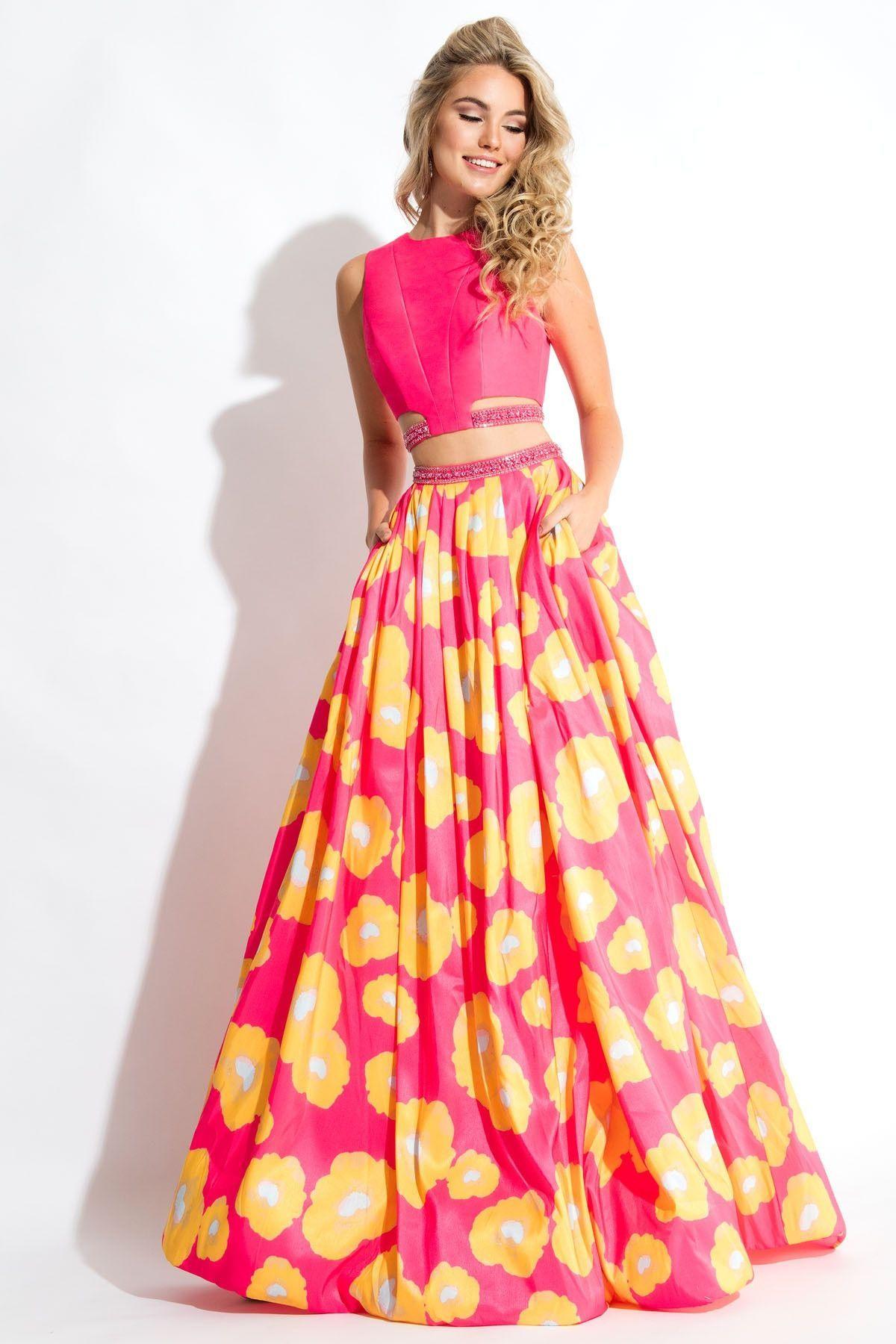 240da85aead8f Rachel Allen 2 piece floral prom dress, Fuchsia/Yellow Size 2 In ...