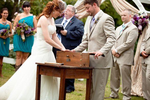 Outdoor Wedding at Historic Cedarwood   Wine box ceremony, Wine ...
