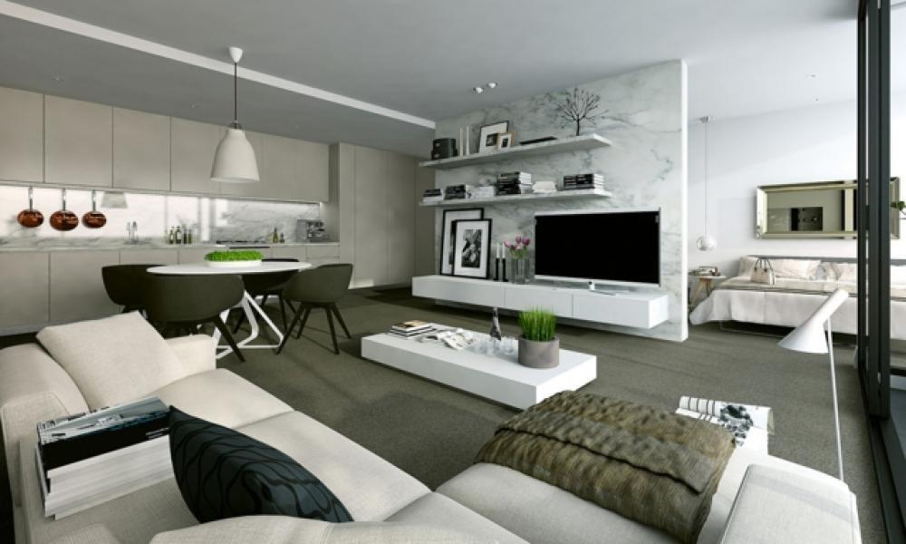 Pièce de vie moderne dans un petit appartement de ville