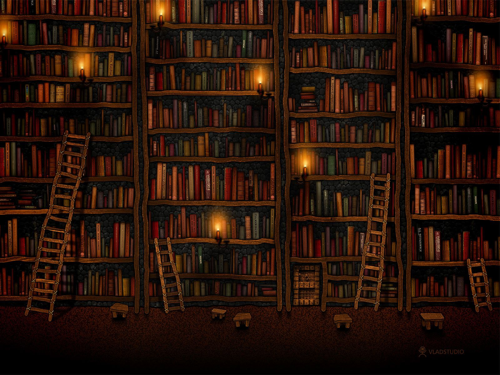 Giant Library Night Wallpaper 1600x1200