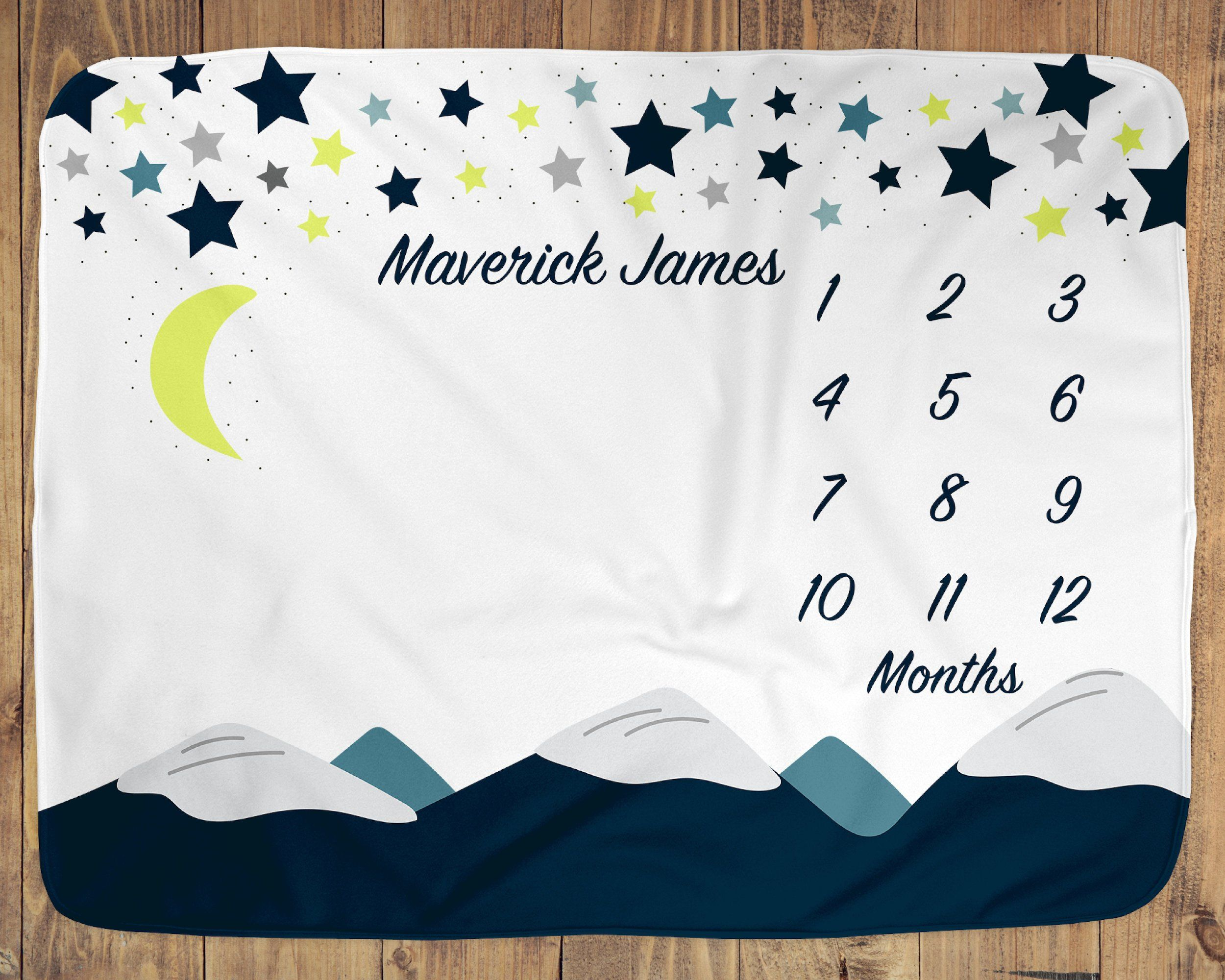 New Mom Baby Shower Gift Monthly Growth Tracker Gender Neutral Blanket Mountain Baby Milestone Blanket Personalized Baby Blanket