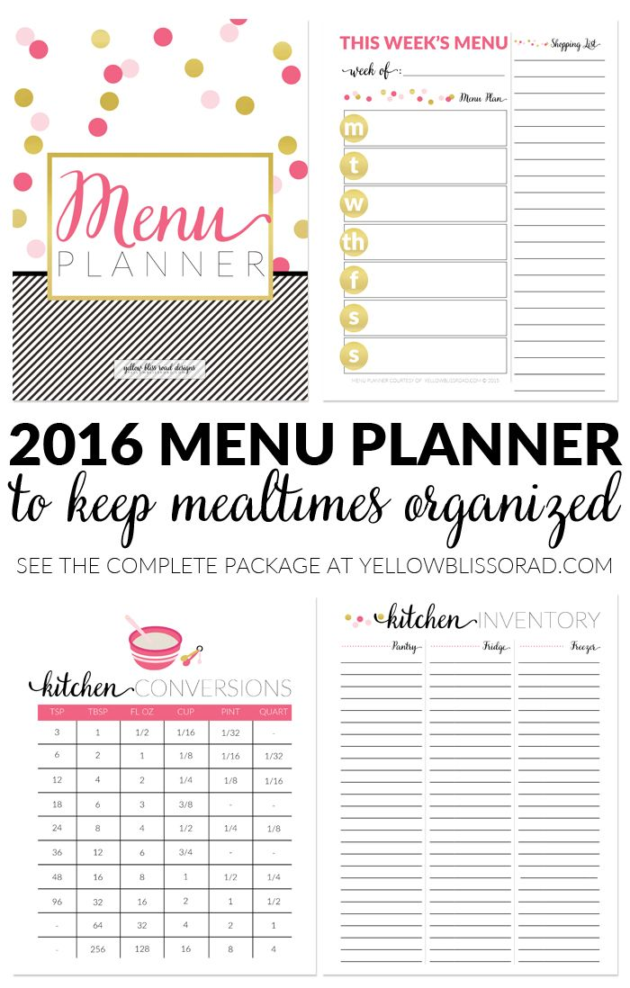 all new 2016 blog planners day planners and menu planners menu