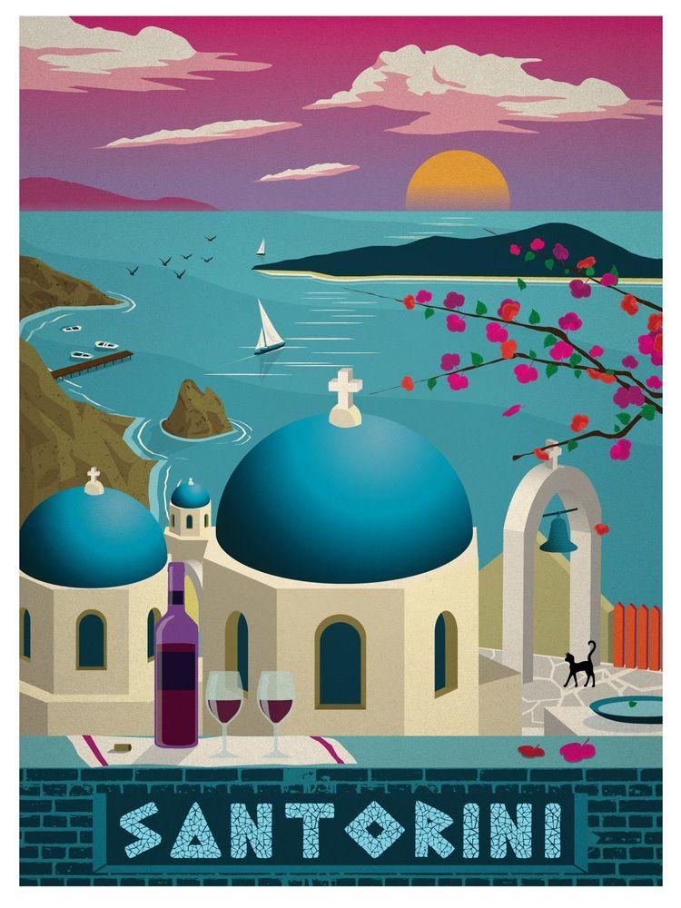 Image of Vintage Santorini Print