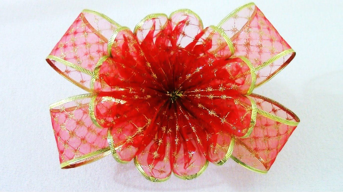 Moños Y Flores De Navidad En Organza Christmas Ribbons Flowers Flor De Navidad Artesanías De Cinta Manualidades