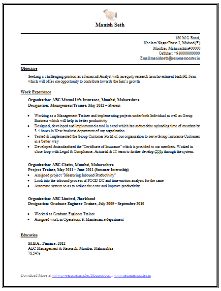 mba finance resume samples