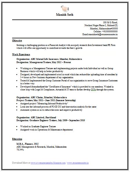Engineering MBA Finance Resume Sample (1)