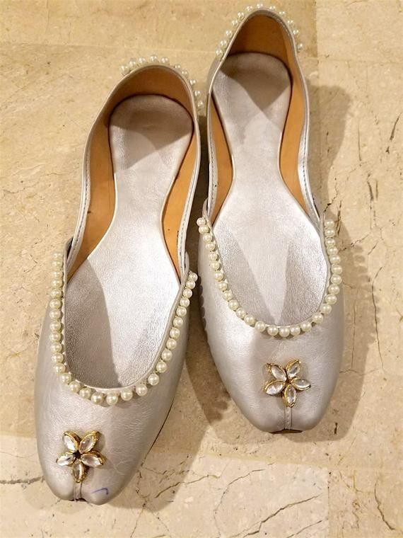 2ed3fdd0d1b37 Punjabi jutti US Size 9: Silver shoes | Pakistani shoes | Indian ...