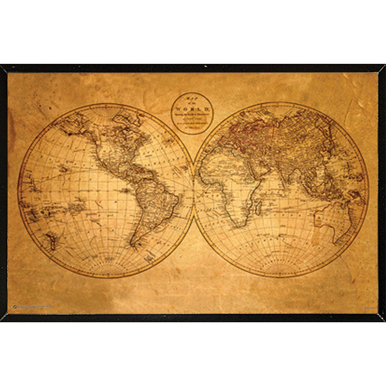 USA \'Old World Map\' Hardboard Frame 36-inch x 24-inch Poster ...