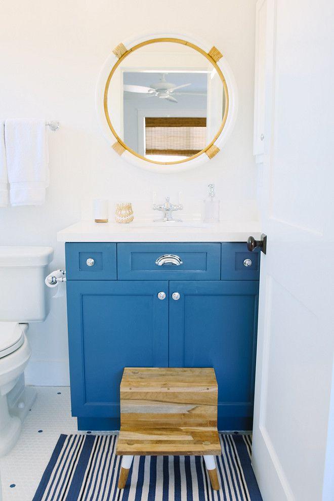 blue bathroom vanity. kids bathroom with blue vanity. the kids