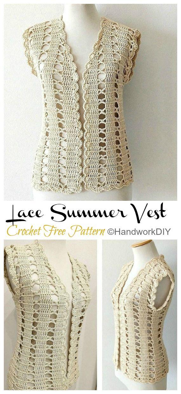 Easy Lace Summer Vest Crochet Free Pattern [Video] - Crochet & Knitting