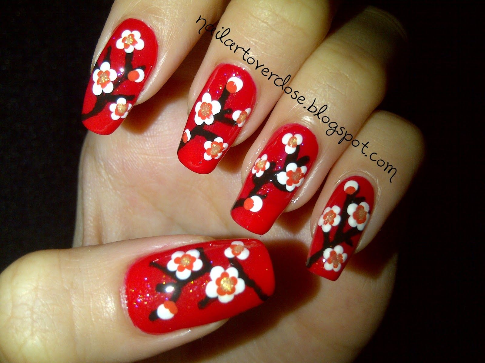 Nail Art Overdose: Chinese New Year Nail Design: Cherry Blossom On ...
