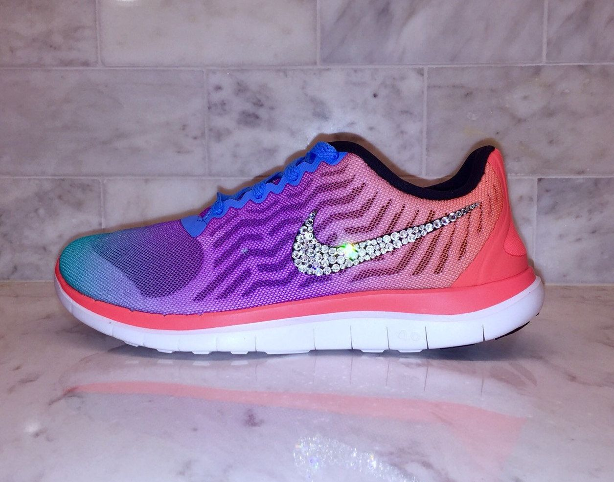 new product 4f06c 5115d ... spain swarovski bling rainbow nike free 5.0 neon crystal by  goldhomecouture on etsy a409a 709d3