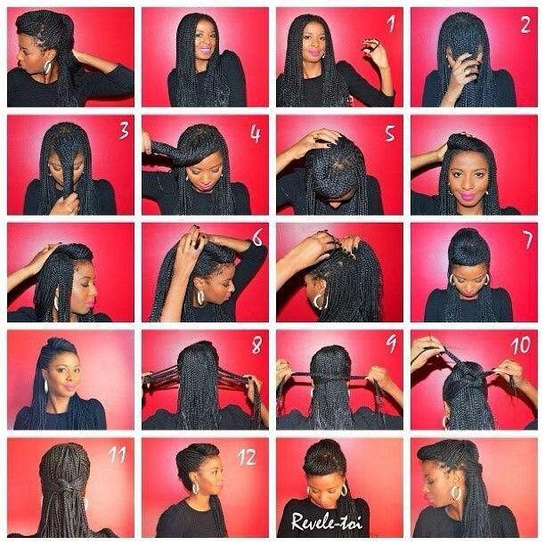 12 Steps Box Braids Hairstyle Tutorial Braided Hairstyles Tutorials Box Braids Styling Box Braids Hairstyles