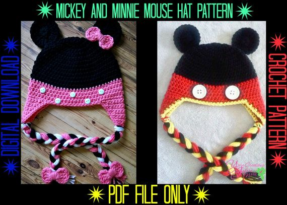 Mickey Minnie Mouse Hat Crochet Pattern Beanies Pinterest