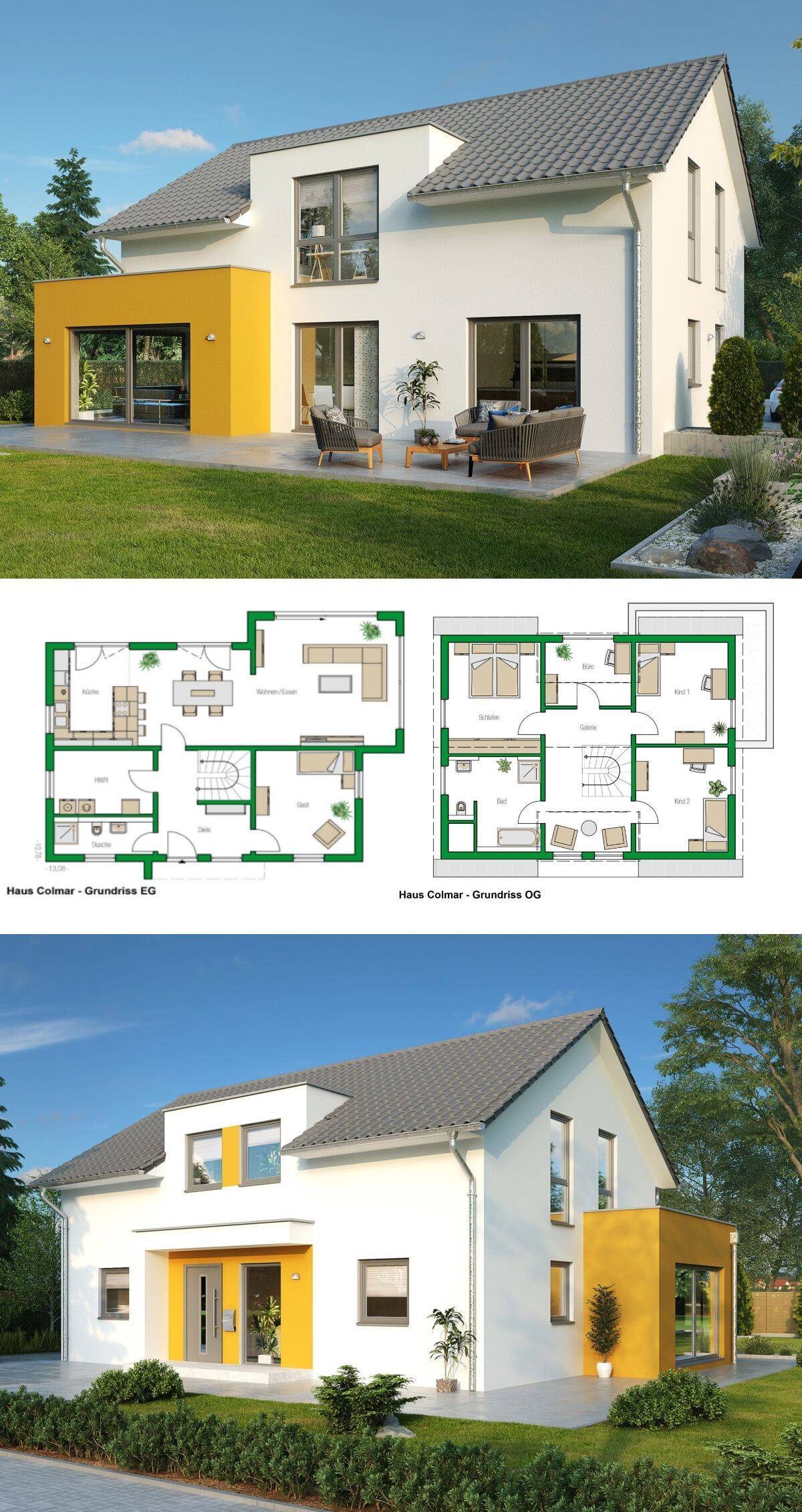 Einfamilienhaus Architektur modern mit Satteldach, Erker Anbau ...