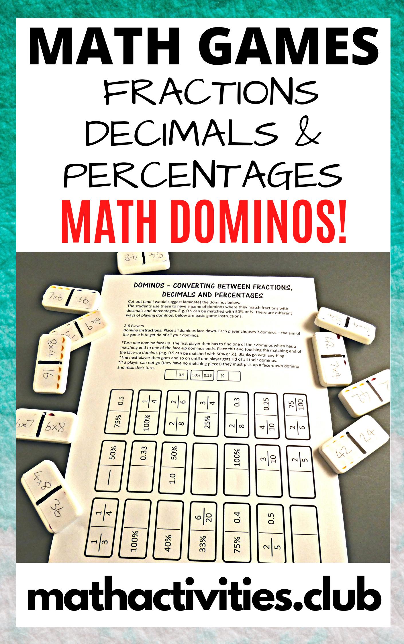 Domino Math Converting Fractions Decimals Percentages