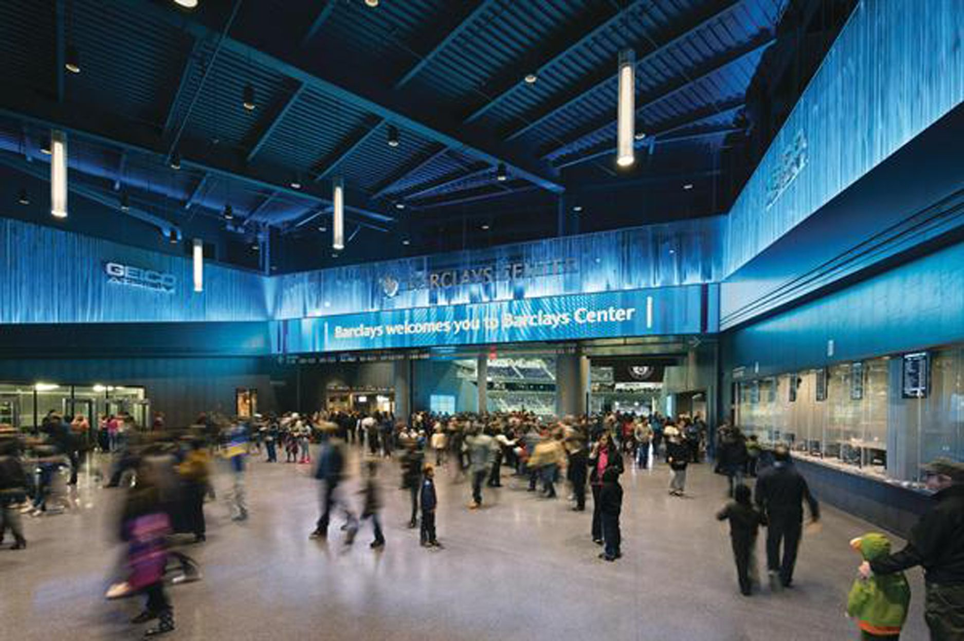 Barclays Center makes a cavernous lobby intimate with dramatically lit Cascade Coil