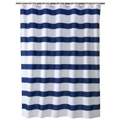 Rugby Stripe Shower Curtain White Blue Cool Room Essentials