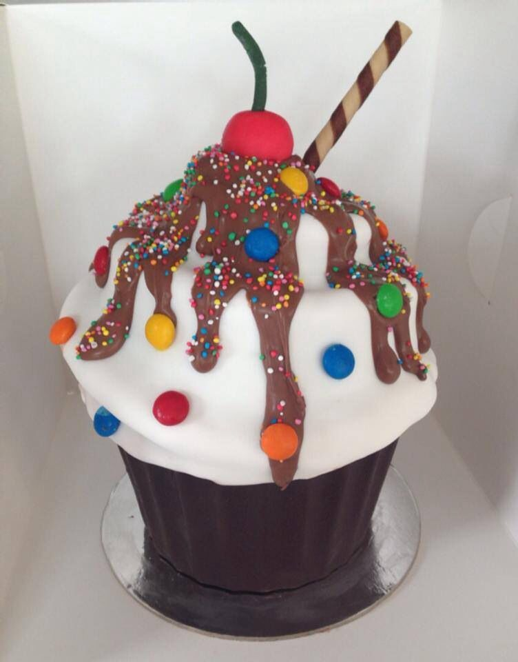Giant Cupcake Turned Into An Ice Cream Sundae Giant Cupcake Cakes Large Cupcake Cakes Big Cupcake