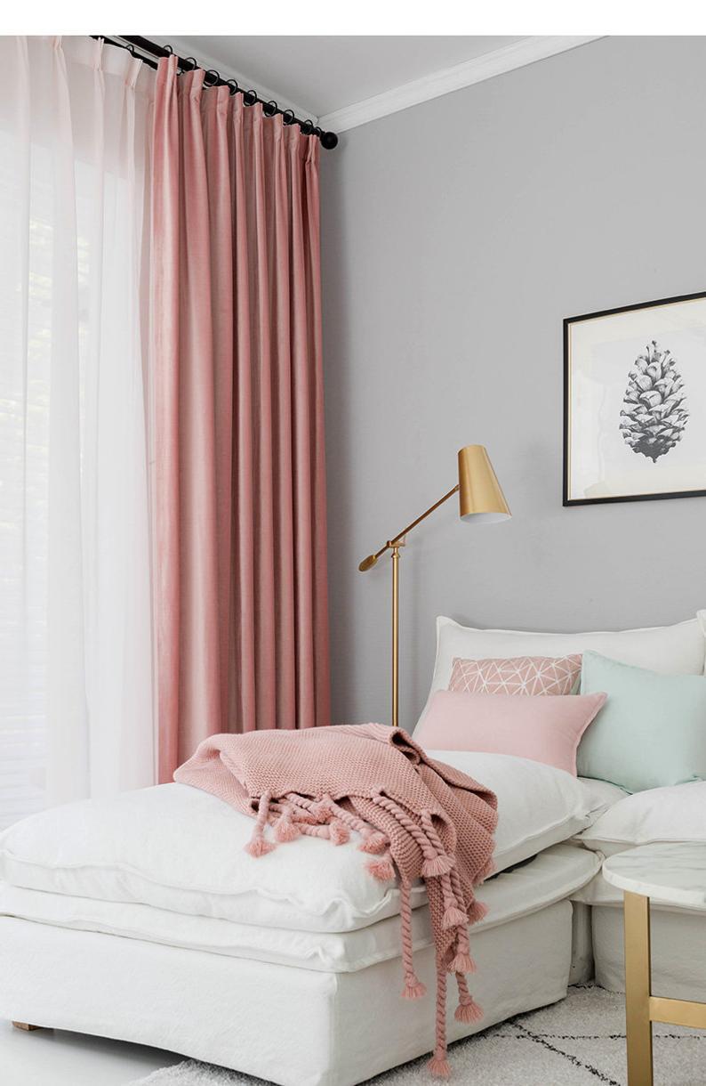 Pair of Velvet Rose Pink Curtains, Velvety dusty pink drapery, Custom curtains, extra long ...