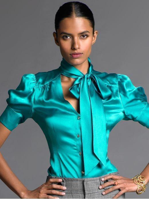 1d31507e9b9868 Turquoise tie neck blouse (Banana Republic)