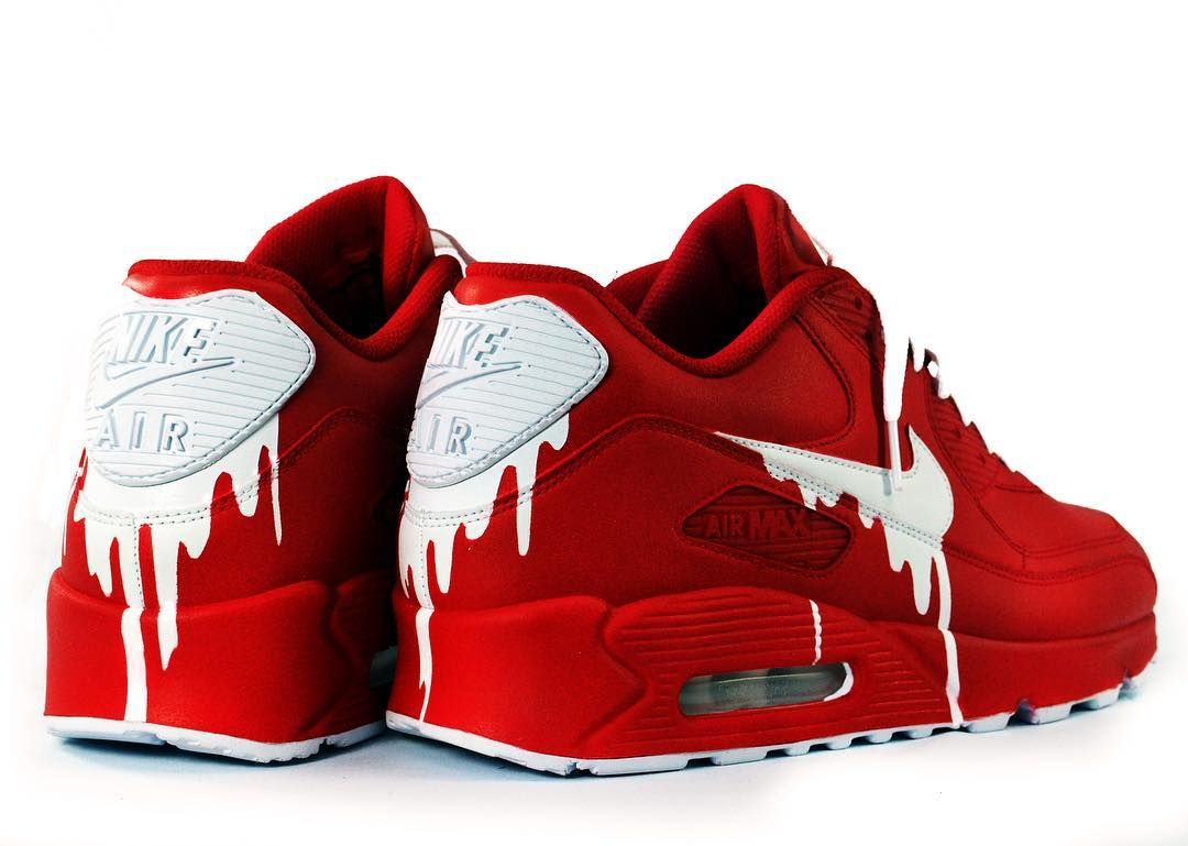 cheaper b860a faedd Nike Air Max 90 x Custom Red Satin  sierato Air Max Sneakers, Red Sneakers