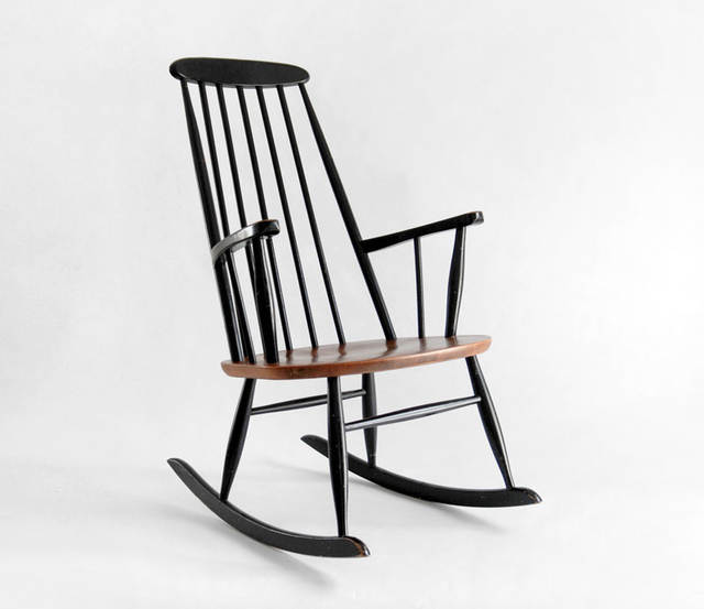 Vintage Ilmari Tapiovaara Style Rocking Chair From The Mid Century With Black Laquered Spindle High Back Teak Rocking Chair Rocking Chair Eames Rocking Chair