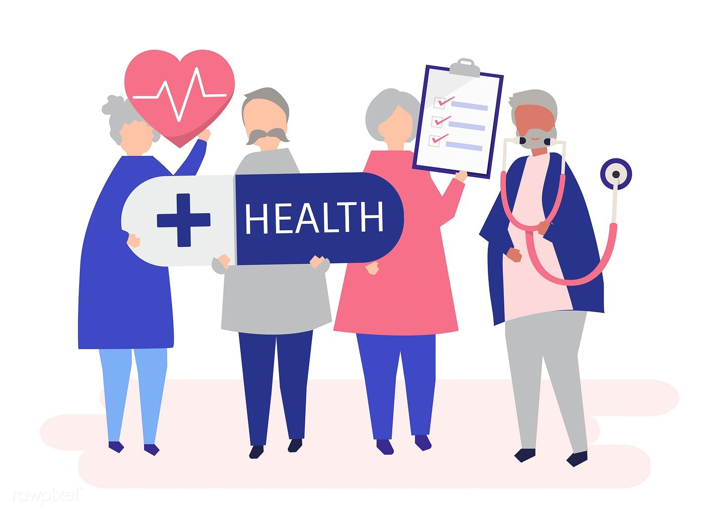 Character illustration of elderly people holding health
