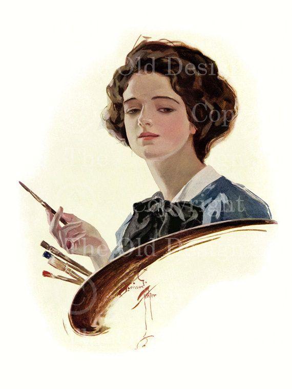 Harrison Fisher Vintage Lady with Black Hat Pink Feathers Digital Download JPG Image