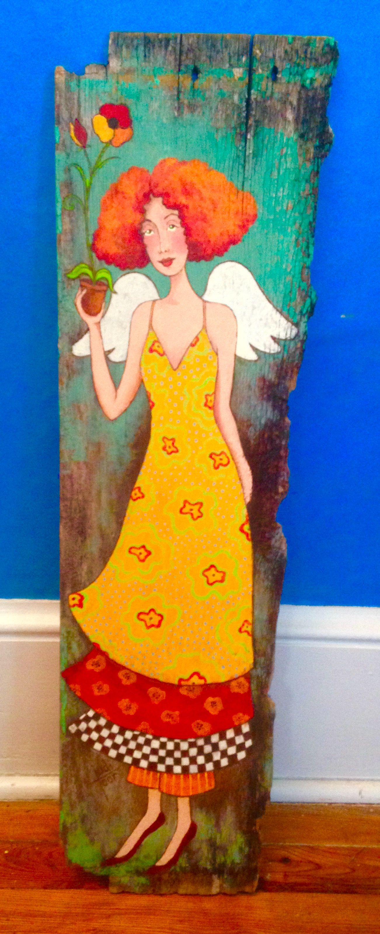 Whimsical angel with a flower from her garden. She is hand painted ...