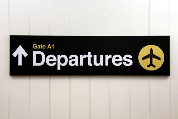 airport departures sign little