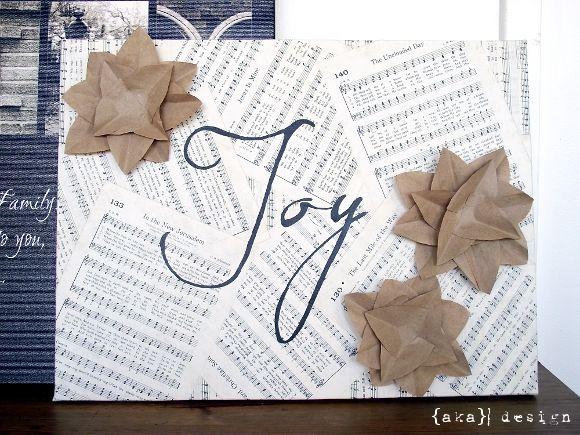 Diy project kraft paper embellished joy canvas for holiday diy project kraft paper embellished joy canvas for holiday decorating solutioingenieria Gallery