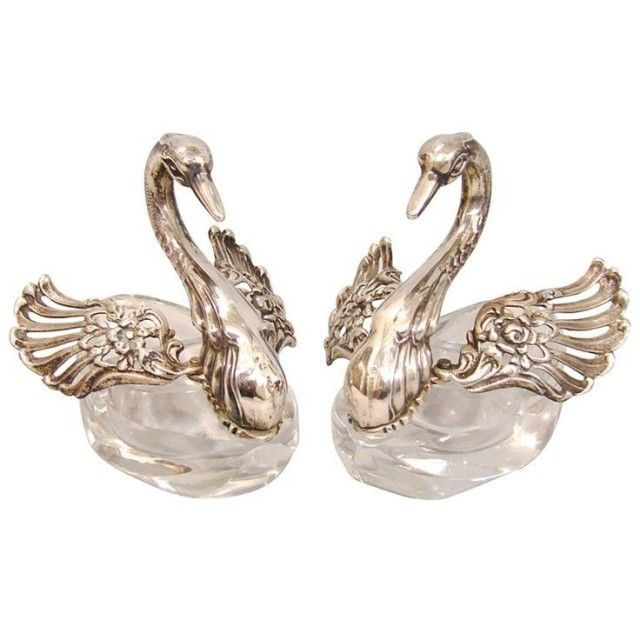 Silkfaun: A pair of Crystal and Sterling Silver Swan Open Salts - #beautiful #jewelry #luxurious #so #Swans