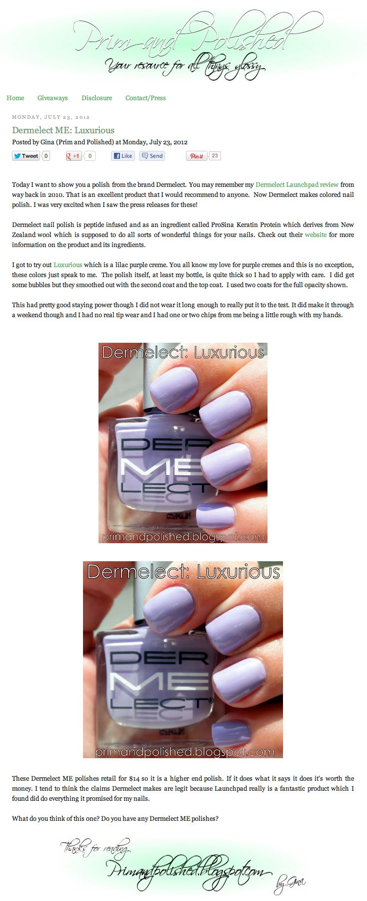 Dermelect nail polish is peptide infused and as an ingredient called ...