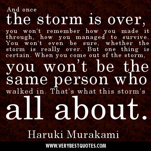 And Once The Storm Is Over You Won T Remember How You Made It Through How You Managed To Survi Inspiring Quotes About Life Storm Quotes Inspirational Quotes