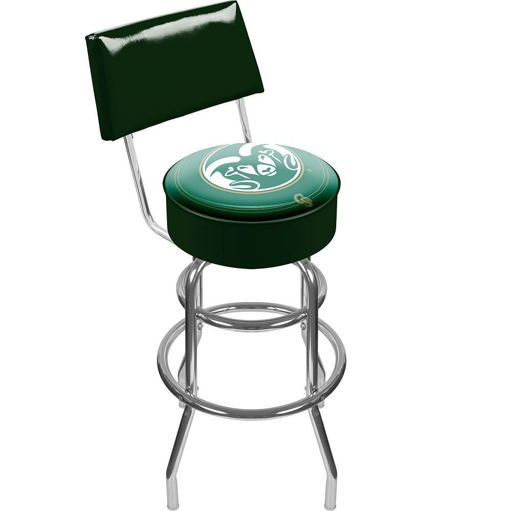 Colorado State Rams Padded Swivel Bar Stool with Back, Multicolor