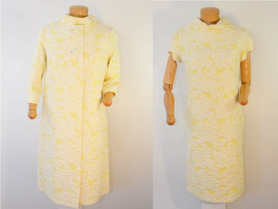 on sale Vintage 1960s DRESS with MATCHING Coat and Hat Yellow and White Size 10 by ilovevintagestuff on Etsy