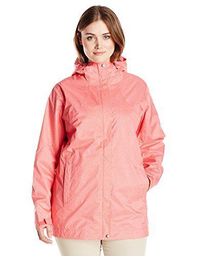 4282a788d248c Columbia Womens Plus Splash A Little Rain Jacket 1X Bright Geranium Lace  Print