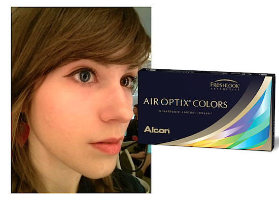 Air Optix Colors in Blue on the left, Freshlook Colors in