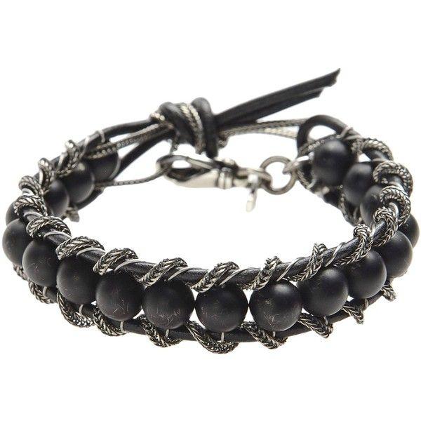 EMANUELE BICOCCHI Bracelet (€185) ❤ liked on Polyvore featuring jewelry, bracelets, black, kohl jewelry, black bracelet, black pendant, genuine leather bracelet and black leather bracelet